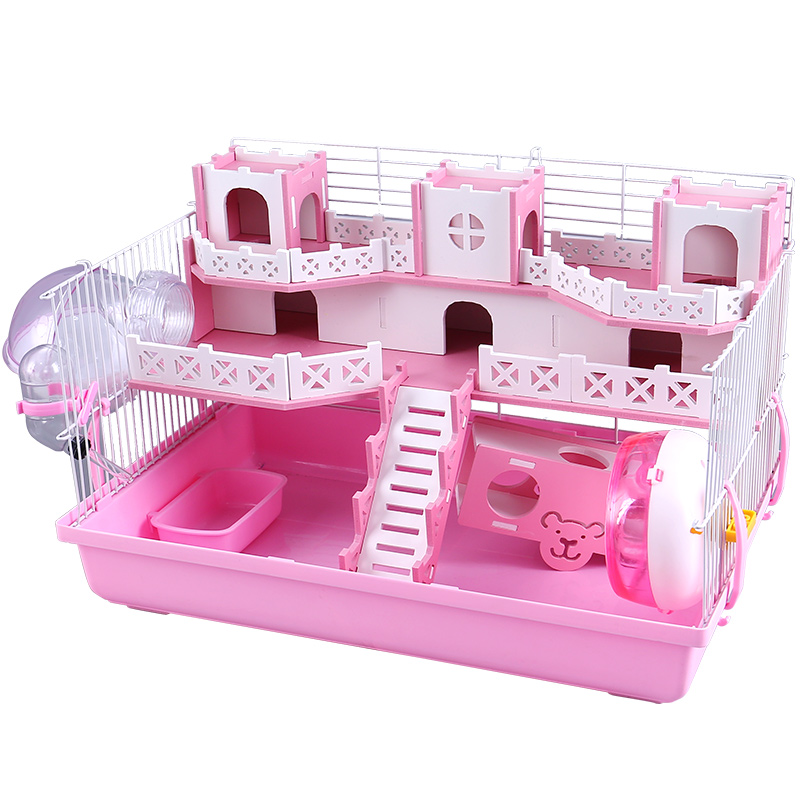 Hamster Cage Double-deck Luxury Villa Castle 47 Foundation   Nest Pet Golden Bear Super Large