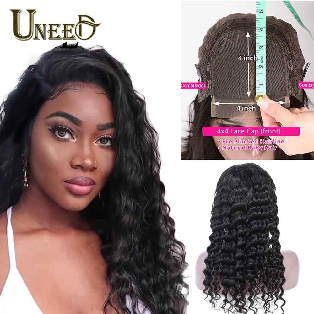 Brazilian Loose Deep Wave Hair Wigs 4x4 Lace Closure Human Hair Wigs for Women 150% ensity Pre-plucked with Baby Hair Remy Hair