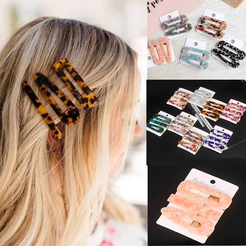 2PCS/3PCS Fashion Acetate Geometric Hair Clips For Women Girls Headband Sweet Hairpins Barrettes Hair Accessories Set 2019