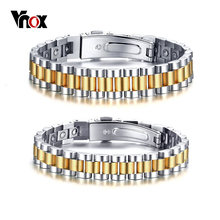 Vnox 24 Pcs Full 99.99% Germanium Strap Watch Design Bracelets Stainless Steel Men Jewelry(China)