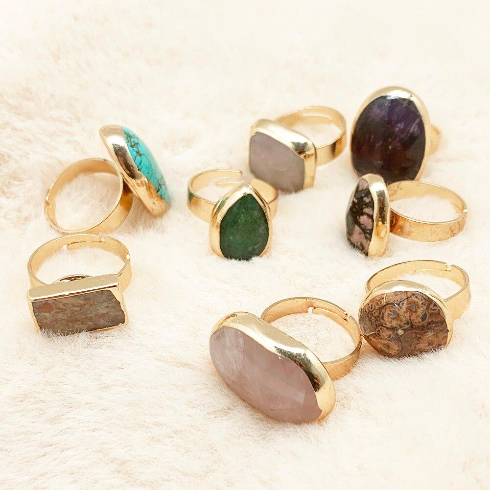Новый Урожай большой капли воды в ретро-стиле с открытым естественные каменные кольца для женщин и девушек, кольцо на палец для вечеринки Св...