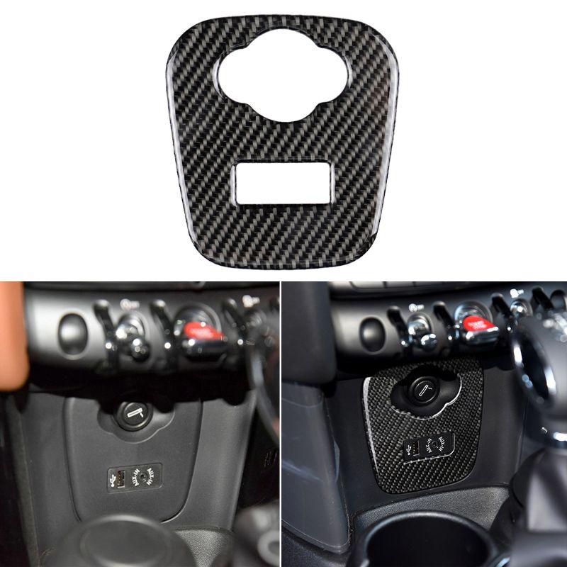 For Mini Cooper JCW F55 F56 Accessories Car Interior Carbon Fiber Cigarette Lighter USB AUX Panel Console Cover Sticker 57BA