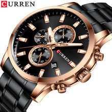 New CURREN Classic Sporty Black Watch Men Chronograph Stainless Steel Quartz Watches Male Wristwatch Luminous Hands Reloj Hombre(China)