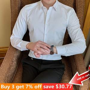 men shirt long sleeve business white elegant cotton polyester social dress shirts red blue 7 color selected xxxxxl 6xl 7xl 8xl