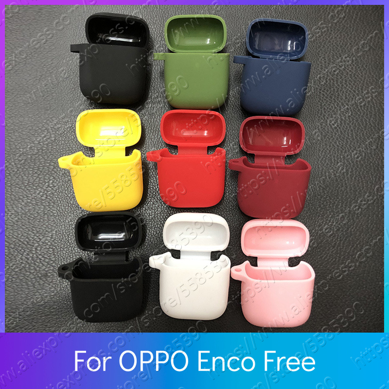 OPPO Enco Free Case Silicone With Metal Hook Shockproof Earphones Skin Protective Earbuds Cover Accessory image