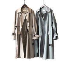 2020 mulheres Trench Coat Manga Comprida Turn Down Collar Double Breasted Mulheres Long Trench Coat Casaco Abrigo Femme Streetwear