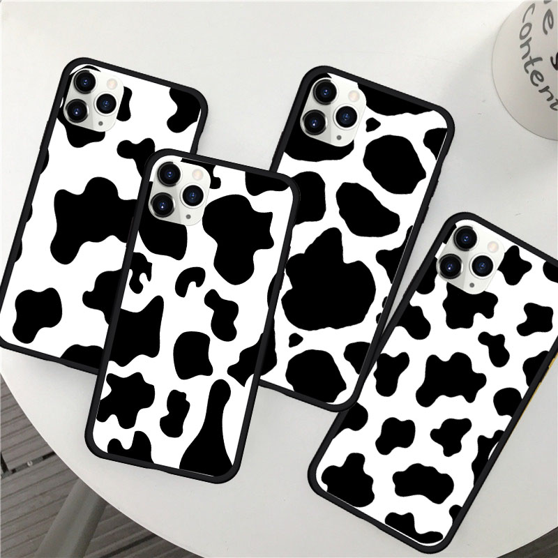 New White Black Cow Symbol Pattern Print Phone Case Cover for IPhone 6 6S 7 8 PLUS X XS XR MAX 11 PRO SE 2020 Back Case Cover