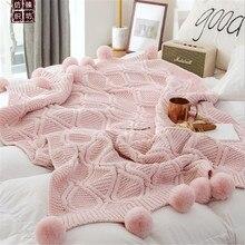 Knitted Blanket Sofa Throw Blankets Cotton Pompom Baby Blankets Crochet Blanket For Bed Sofa Cover Knitted Carpet 160*130cm