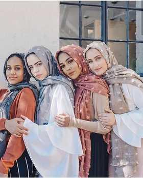 2019 جديد يتدفقون فقاعة الشيفون وشاح الحجاب للمرأة المسلمة soild اللون تنفس الحجاب الإسلامي وشاح الرأس العربي 2