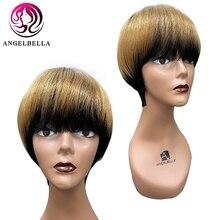 Blonde Wigs Short-Cut Human-Hair Ombre-Honey Straight Black-Women Angelbella