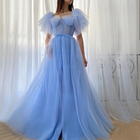 Blue A Line Simple Draped Sexy Evening Dresses Long 2020 Short Puff Sleeve Tulle Prom Dress Party Night Gowns Vestidos Arabic