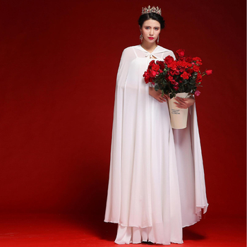 Women Chiffon Bridal Cape Long Wedding Cloak Hooded Elegant Lady Party Prom Cape Cosplay Witch Pirate Rolled Cloak Black Red 10