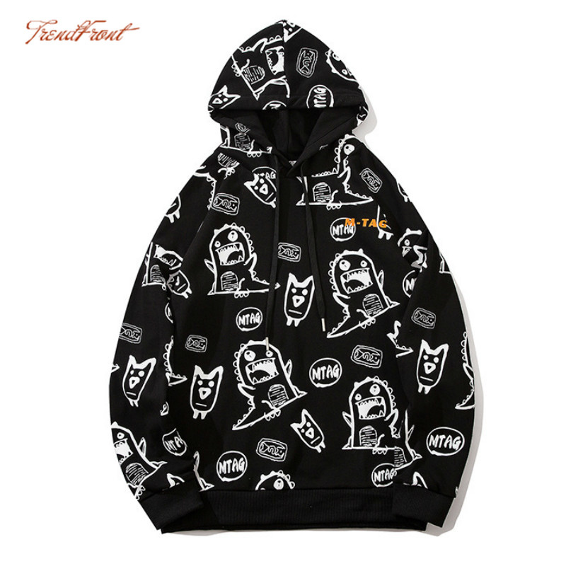 TF Autumn Winter Original Fashion Brand Men's College Loose Small Monster Printing Loose Student Couple Hoodie Sweater Fashion 1