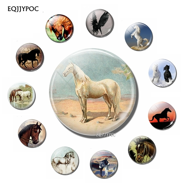 Fridge Magnets Art Horse Glass Dome Cabochon Lovely Animal Refrigerator Magnetic Sticker Fairy Tale Home Decoration 1