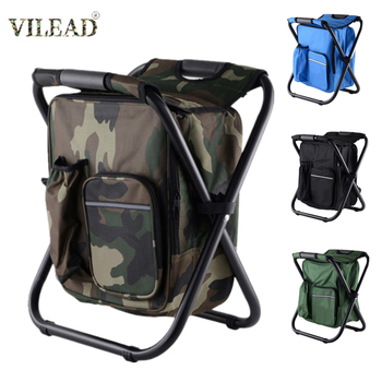VILEAD Folding Fishing Chair Backpack With Ice Bag High Load Bearing Outdoor Camping Chair Portable Seat for Travel Picnic Beach