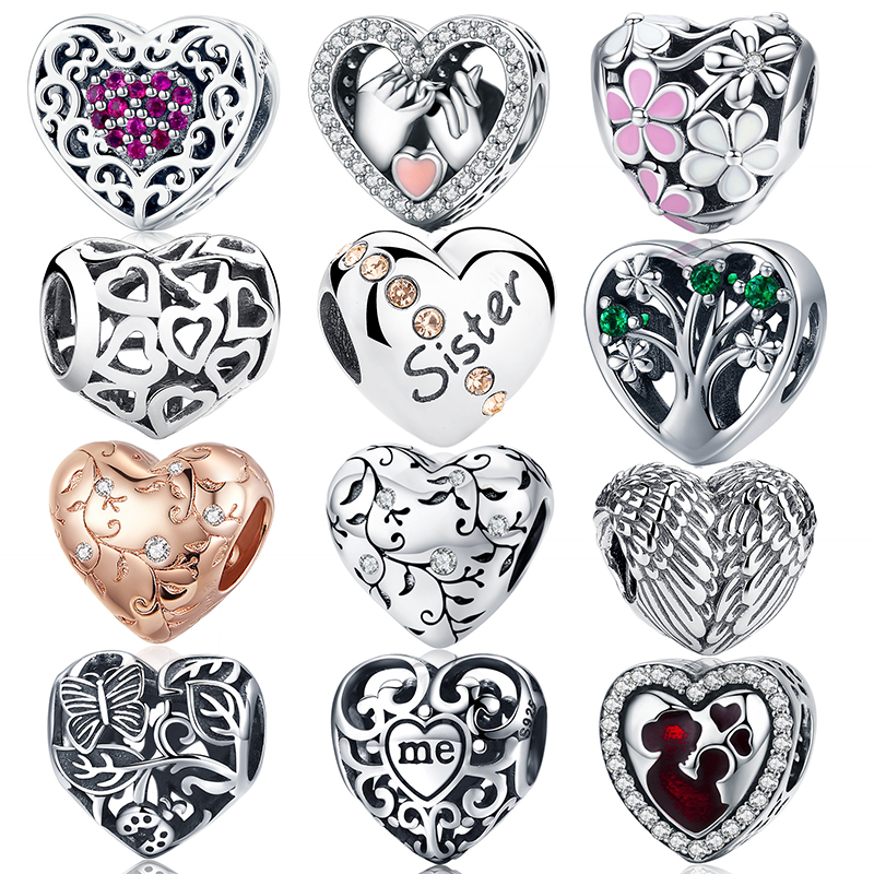 WOSTU Heart Shape Beads Charms 100% 925 Sterling Silver Fit Original Bracelet Pendants DIY Necklace Wedding Lover Jewelry(China)