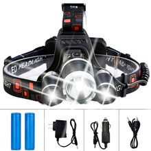 LED Flashlight Rechargeable 3 T6 R5 LED Hard Hat Headlight Battery Car Wall Charger for Camping