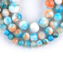 Natural Blue Persian Jades Stone Round Loose Beads For Jewelry Making 6-10mm Spacer Beads Fit Diy Bracelet Necklace 15'' Strand natural fuchsia persian jades stone round loose beads for jewelry making 6 10mm spacer beads fit diy bracelet necklace 15
