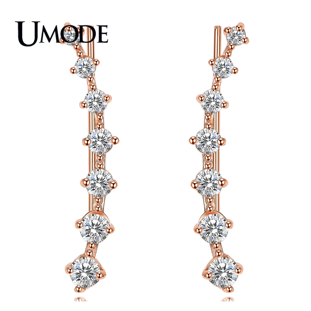 UMODE Fashion Star Stud Earring for Women Rose White Gold Long Hook Earring Jewelry Brincos Aretes de Mujer Wholesale AUE0197A