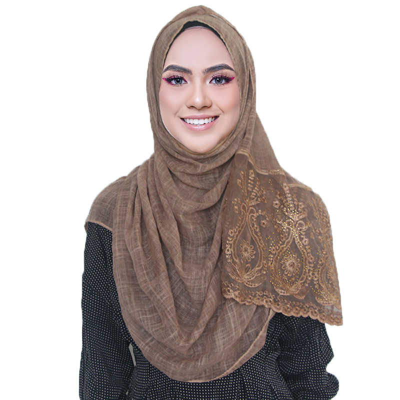 1 pc Lace hijab scarf shawl soft cotton lace edges scarf embroidery hijab woman plain maxi shawl wrap for women
