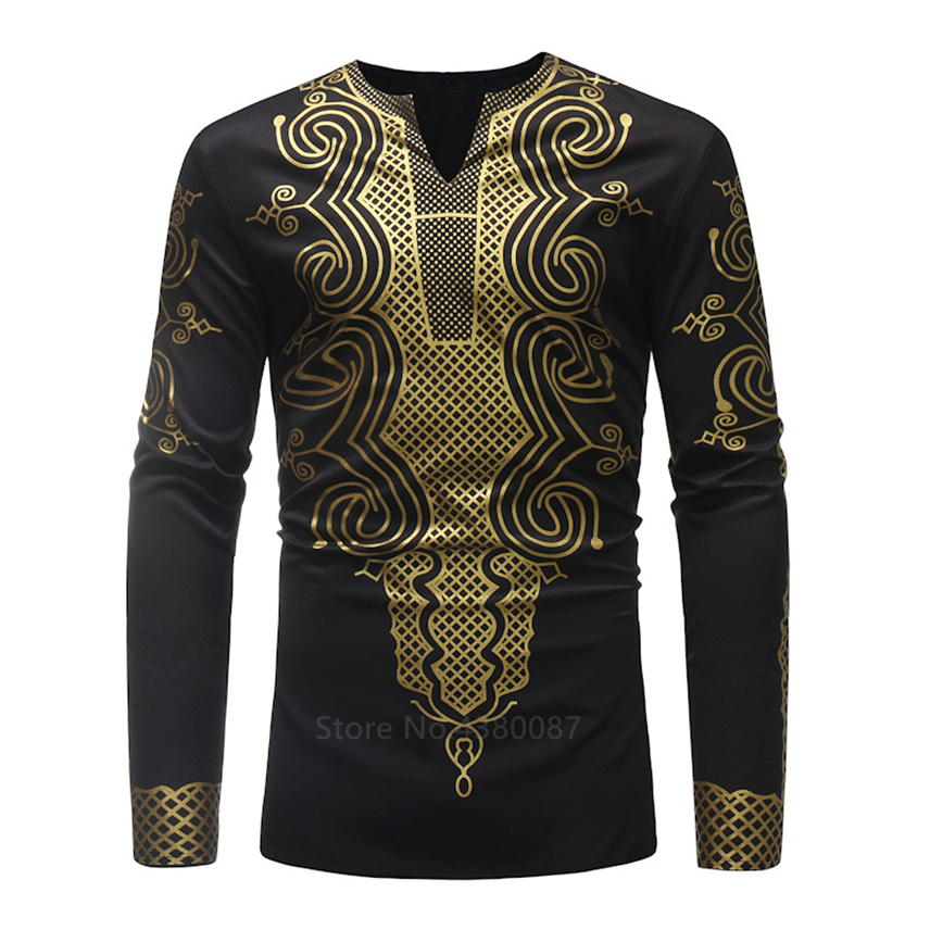 2020 New Year African Dresses Clothes For Men Shirt Dashiki Hippie Luxury Banquet Bazin Riche Long Sleeve Traditional Blouse