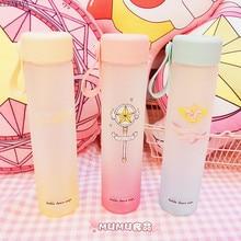 1 adet kart Captor Sakura cam renkli kupası aksiyon figürü Sailor Moon üç renk el şişe plastik kapak oyuncaklar yeni 450ml
