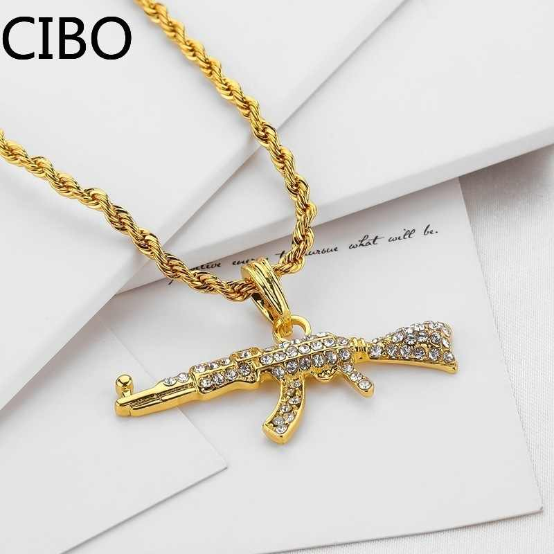 2019 nowy AK-47 obrotowy pistolet pistolet maszynowy hip hop złoty srebrny kolor kryształu naszyjnik iced out kubański łańcuch biżuteria