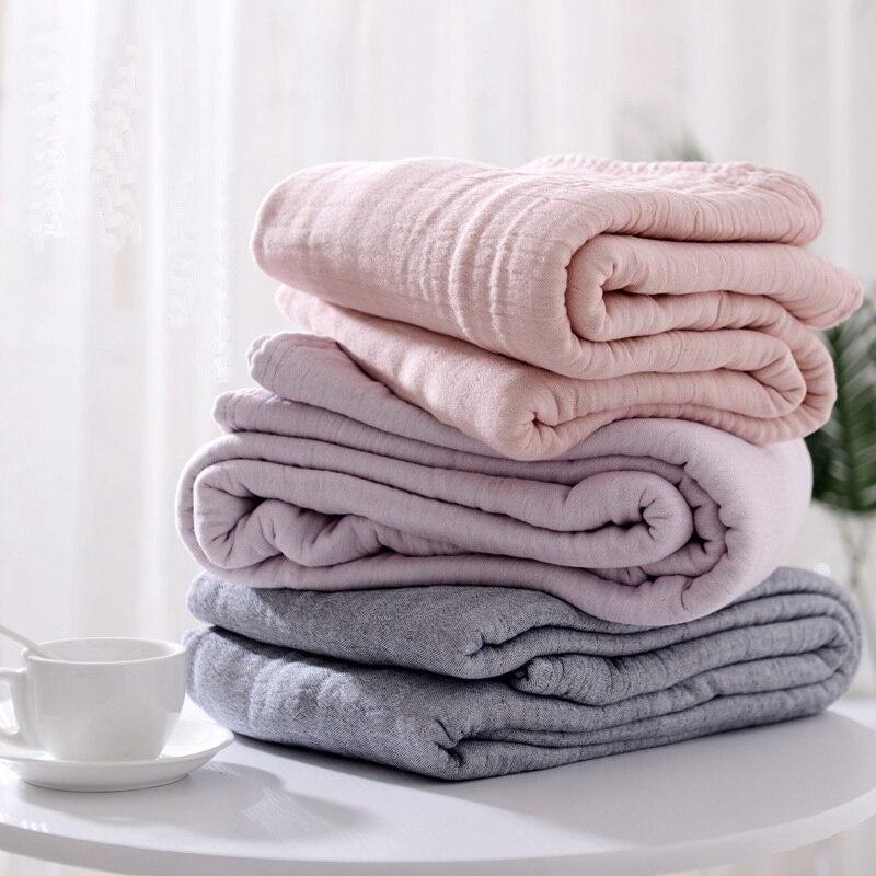 100% coton mousseline couverture lit canapé voyage respirant Simple Style japonais solide grand doux jeter couverture Para couverture