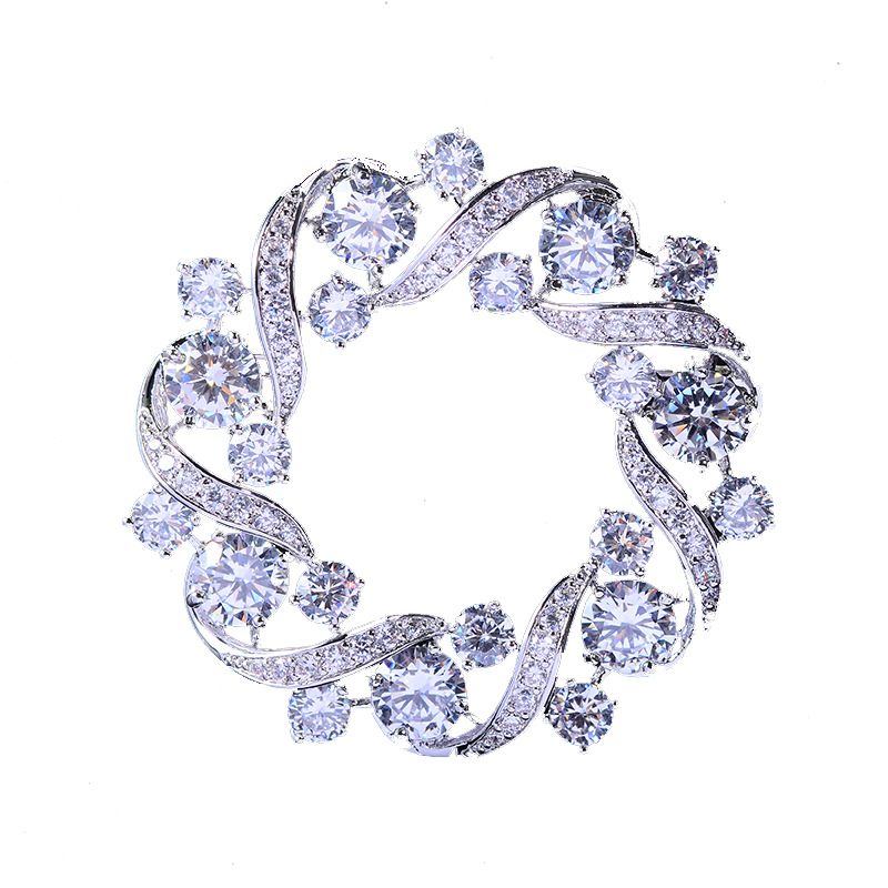 Bad Gug Shiny Rhinestone Flower Brooches for Women Round Brooch Pin Vintage Fashion Jewelry Winter Accessories Zircon Brooche-3