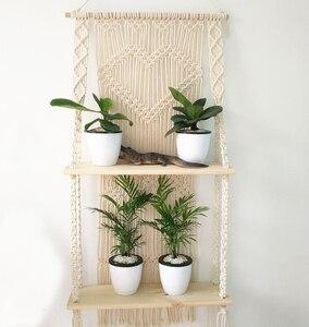 Двойная подвеска для растений из макраме с деревянной полкой, веревка, плантатор, горшок, вешалка, держатель для корзины