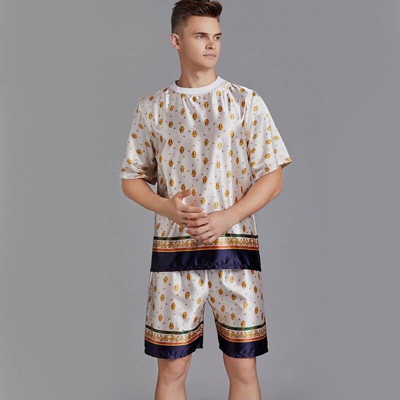 Casual Sleep Set Satin Nightwear 2PCS Pajamas Suit Men Sleepwear Intimate Lingerie Sexy Nightgown Silky Kimono Robe Homewear