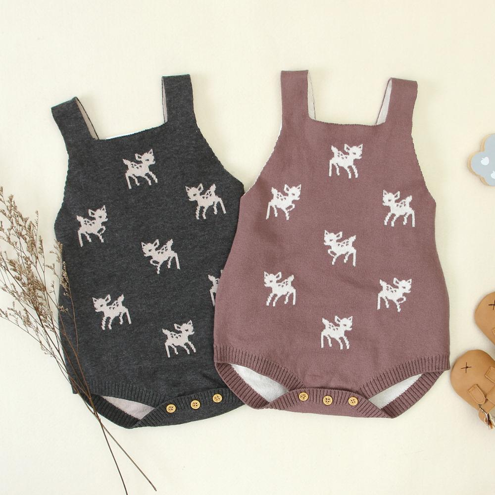 Baby Bodysuits Sleeveless Newborn Bebes Onesie Tops Funny Deer Knitted Infant Kids Bebes Body Suits Toddler Boys Girls Jumpsuits