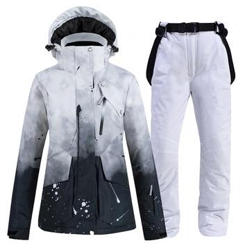 New Ski Suit Women Windproof Waterproof Breathable Warm Men Outdoor Snowboard Jackets +Pants High Quality Winter Ski Jacket