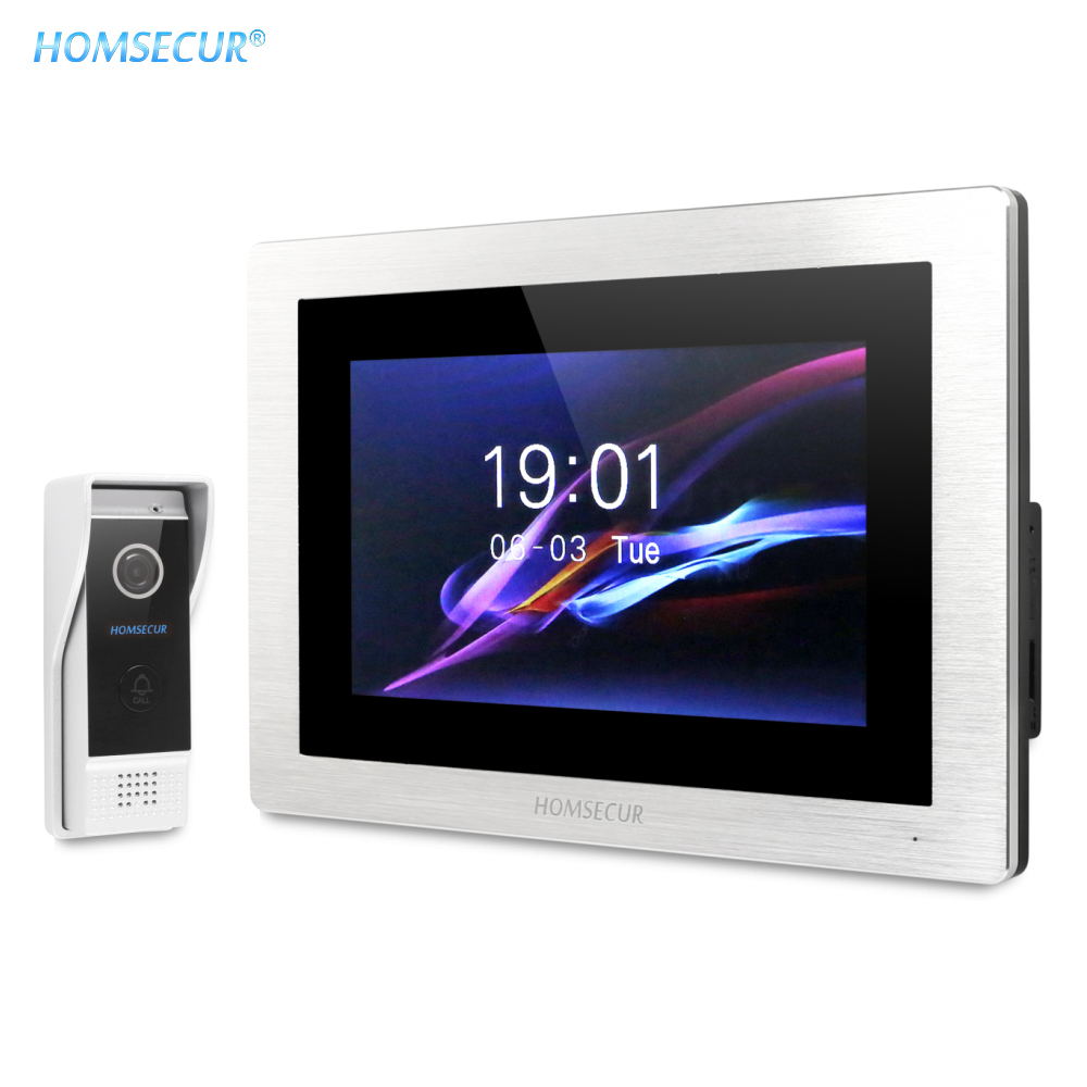 HOMSECUR 7 Bedraad handsfree Video Deur Entry Security Intercom + Zwart Camera BC031 B + BM714 S