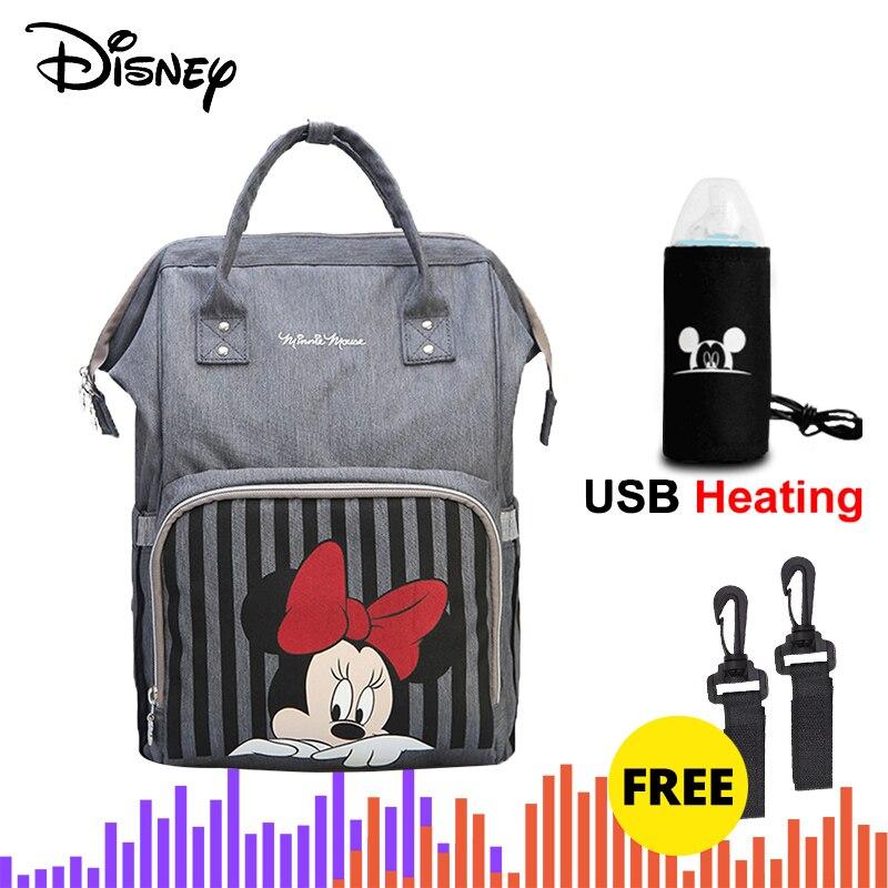 Disney Diaper Bag Backpack Bolsa MaternidadeWaterproof Stroller Bag USB Baby Bottle Warmer Mickey Minnie Travel Mummy Backpack