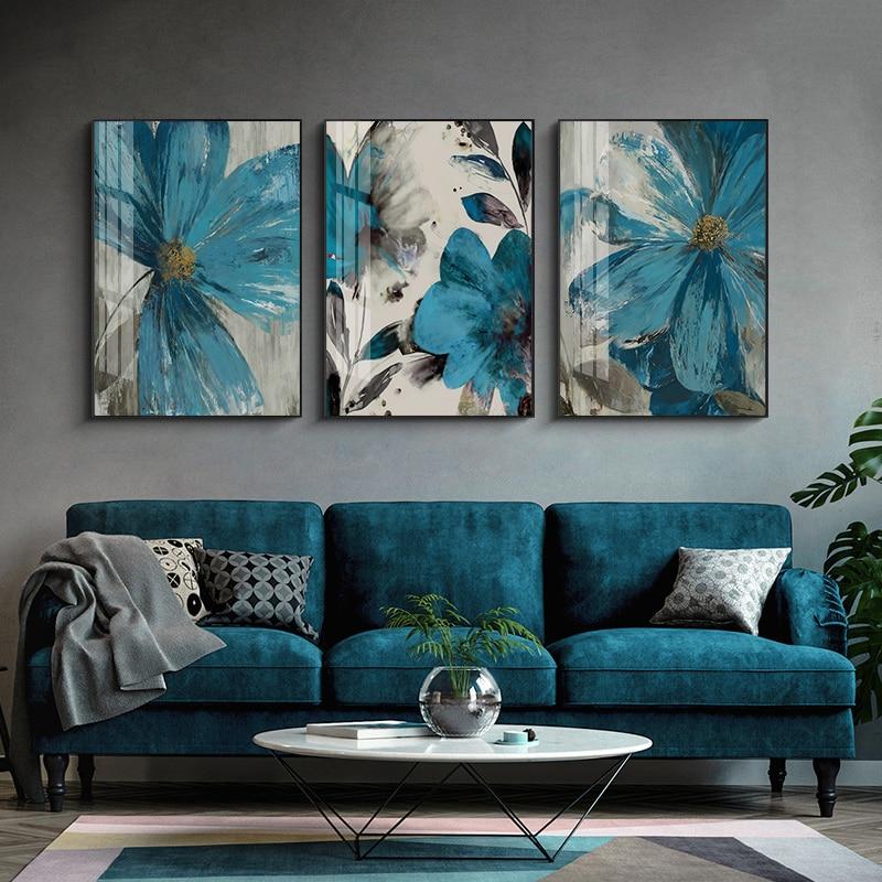 Vintage mavi boya çiçekler tuval boyama soyut Poster çiçeklenme ömürlü botanik baskı duvar sanat resmi oturma odası dekorasyon