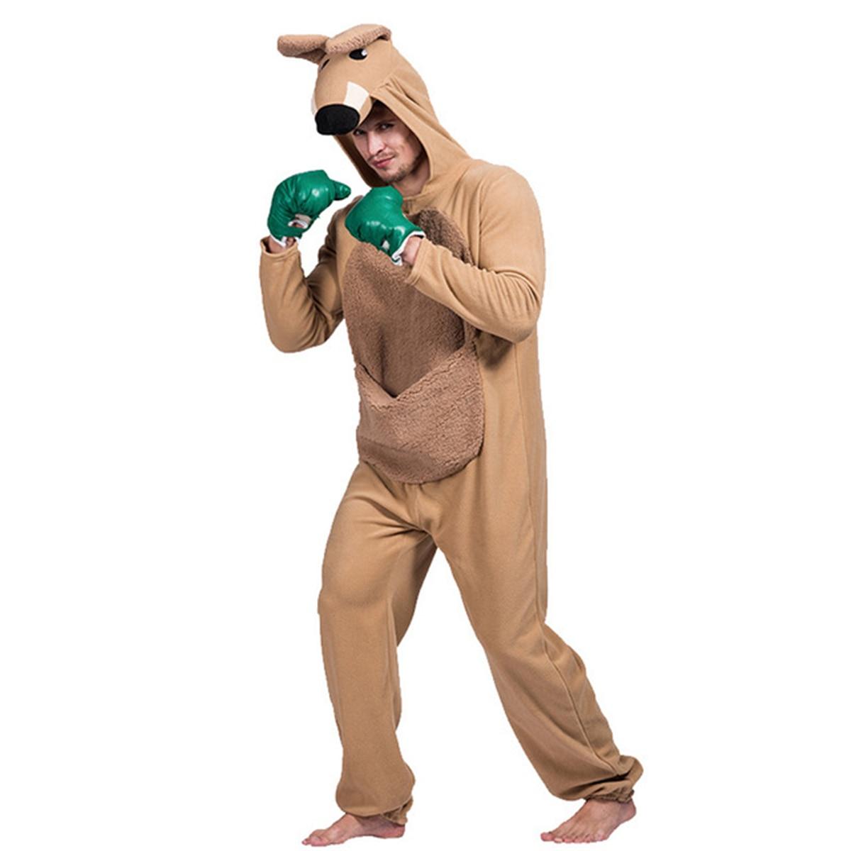 Halloween Adults Kangaroo Onesies Pajamas Halloween Sleepwear Jumpsuit Party Stage Performance Cosplay Costume for Mens Boys