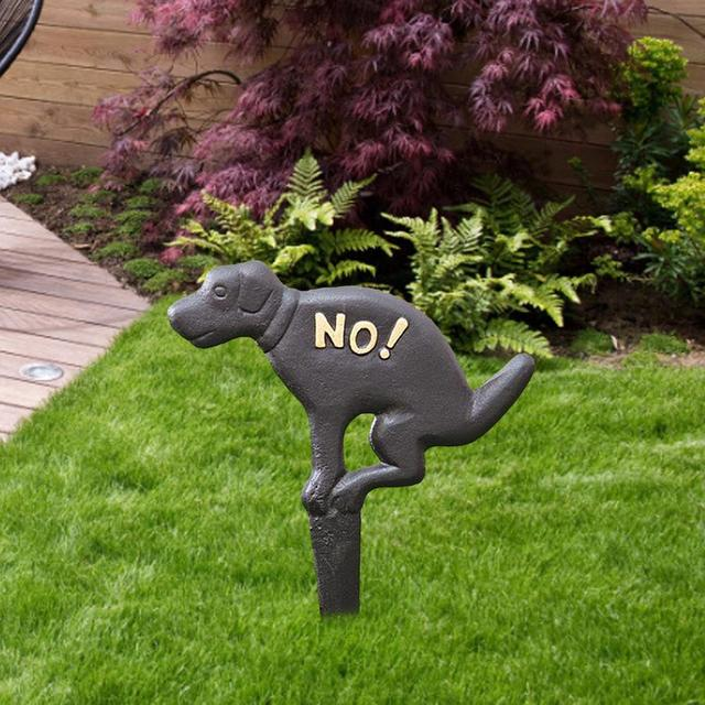 No Pooping Yard Sign Cast Iron NO! Puppy Decorated Inserted European American Grass Garden Decoration