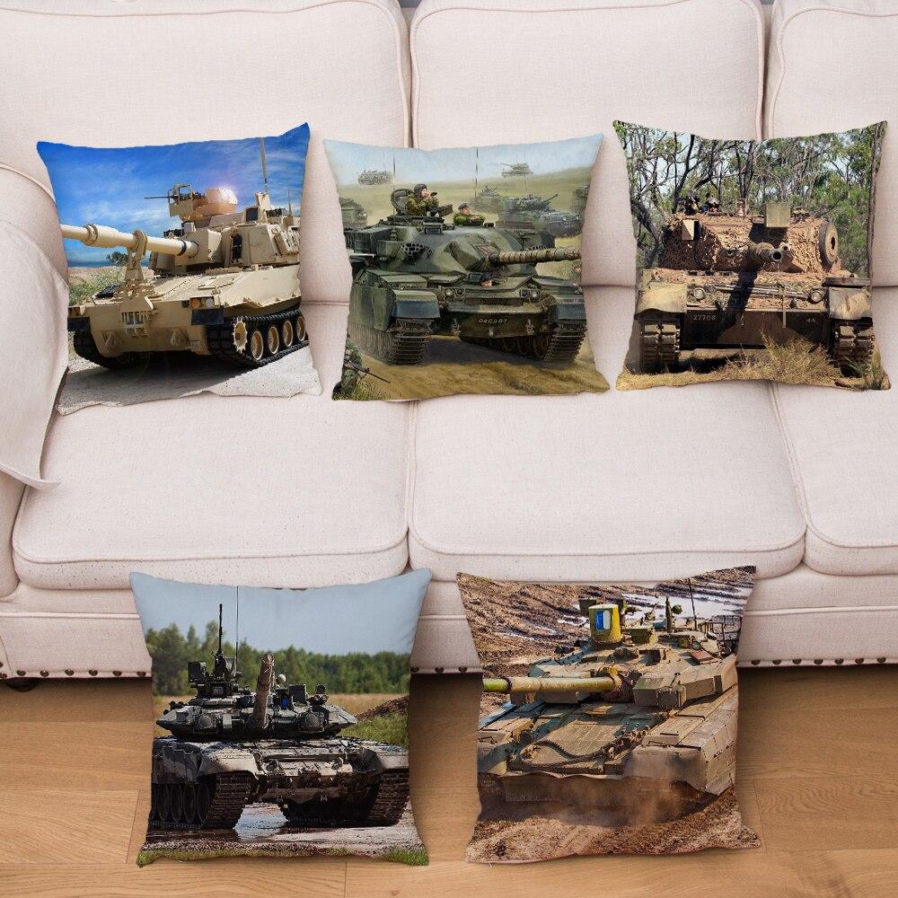 Super Soft Short Plush Military Fan Tank Car Cushion Cover Decor War Weapon 45*45cm Pillow Case For Sofa Home Car Pillowcase