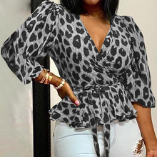 Women Blouses Elegant Office Tunic Shirt Sexy Deep V-Neck Leopard Print Belted Fashion Tops Ruffles Blouse Women Sexy Tops