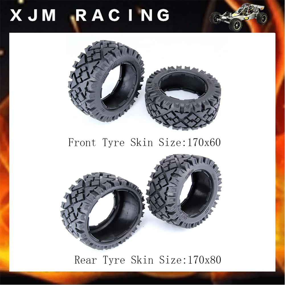 Front and Rear All Terrain Tire Skin Set for 1/5 HPI RIVAN KM MCD GTB RACING BAJA 5B SS TRUCK RC CAR PARTS image