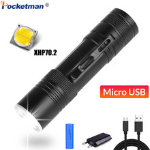 Senter Terang XHP70.2 Torch USB Rechargeable Senter Zoomable LED Torch XHP70 XHP50 Senter Menggunakan Baterai 18650(China)