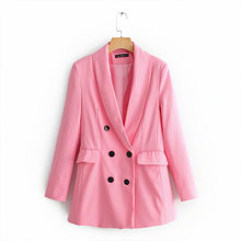Женский стильный розовый блейзер Париж для девушек Двубортный