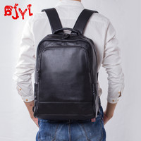 Soft Black Leather Men's Backpack Casual School Bag Business Travel Backpacks Large Capacity Computer Bags Head Layer Cowhide