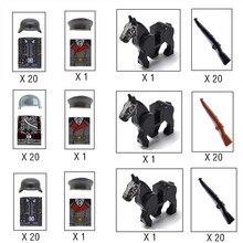 21 pçs oficial soldado ww2 exército alemão cavalo tropa militar swat equipe arma blocos de construção tijolos figuras brinquedos educativos meninos
