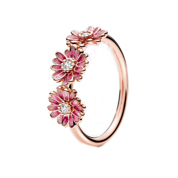 Rose Gold Pink Daisy Flower Trio Ring Rings 2ced06a52b7c24e002d45d: 5|6|7|8|9
