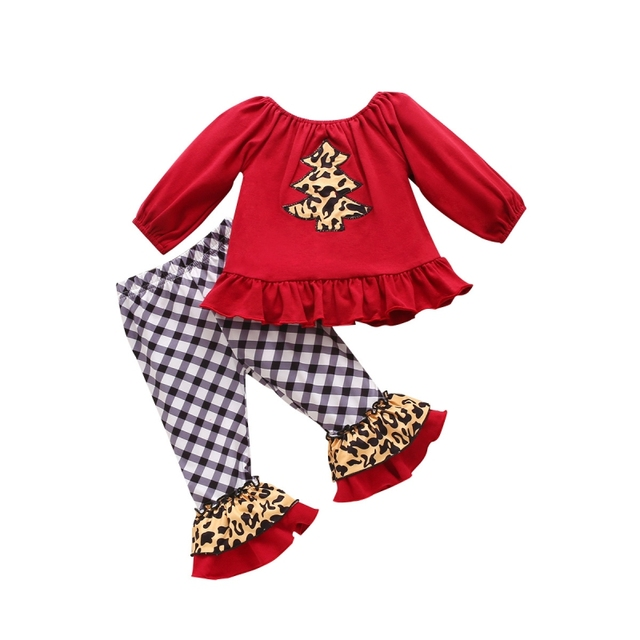 2Pcs Autumn New Children Girls Casual Suits Leopard Print Christmas Tree Sweater+ Flared Pants Children Clothing Outfit 0-4Years 1