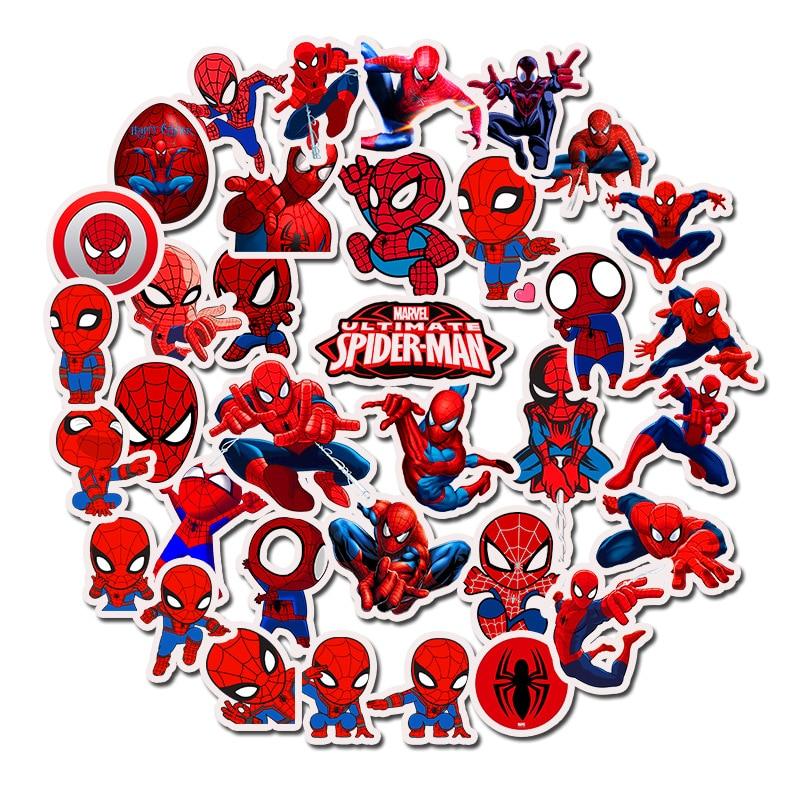 35pcs Marvel Spider-Man Stickers Boy Favor Bedroom Decor Guitar Skateboard Laptop Luggage Bicycle Graffit Decals Sticker Toys