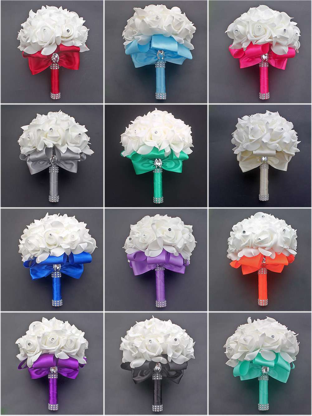 37 Colors Wedding Bouquet For Brides 7.78inch Ribbon Petals Free Shipping  Roses Wedding Bouquet Diamond Bow Wedding Accessories