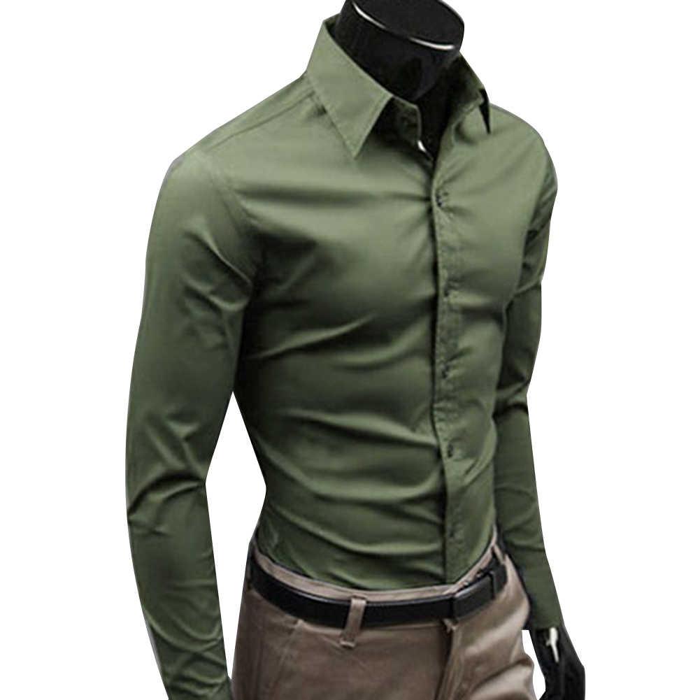 남자 드레스 셔츠 2019 겨울 새로운 패션 남자 솔리드 컬러 비즈니스 긴 소매 남자 단추 아래로 칼라 셔츠 탑 폴리 에스터